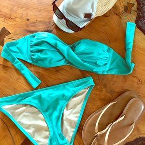 J Crew Aqua Bandeau Bikini